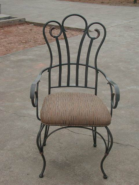 Metal Arm Chair with seat cushion in black powder coating