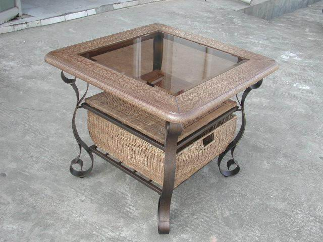 Metal End Table with wood frame