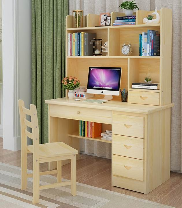 Que Woodgrain Student Half Desk with Bookcase