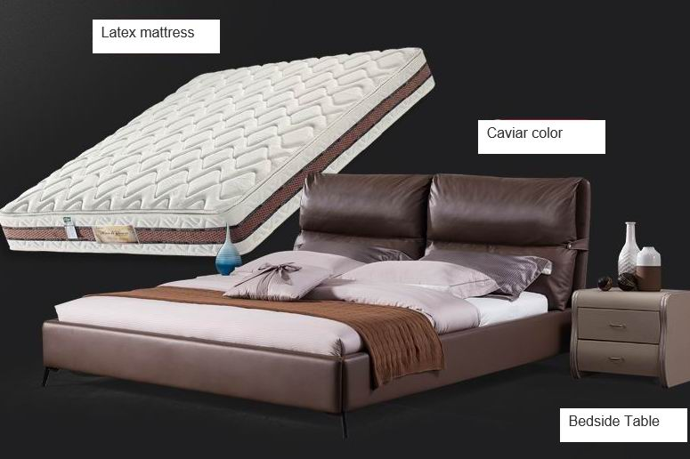 Nordic modern minimalist leather beds