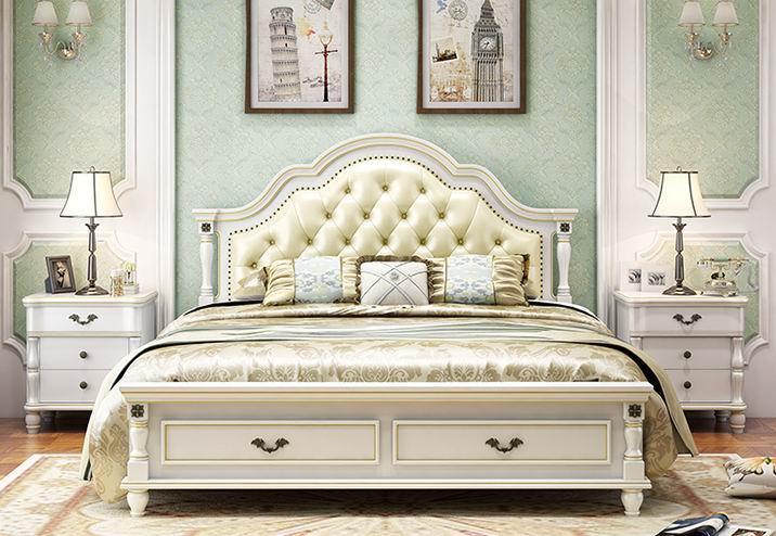 Simple European style double princess white bed