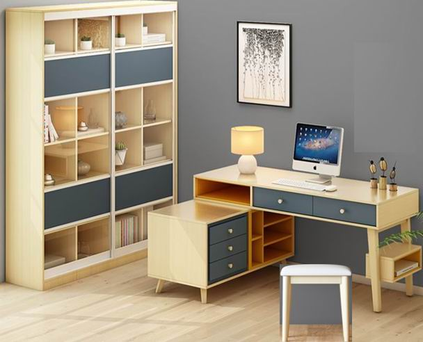 Nordic modern simple desk and bookcase combination