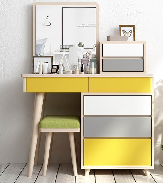 Dressing table with Nordic ideas & retractable storage in mixed finish