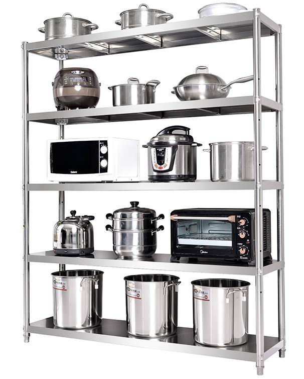 5 layers kitchen storage rack in Stainless steel