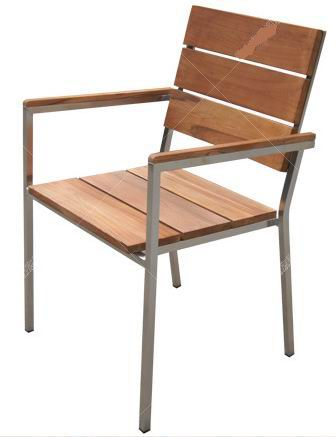 Outdoor teak stainless steel stacking chair
