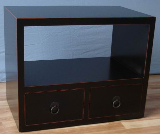 Antique matt black with chestnut color frame 2 drawers cabinet