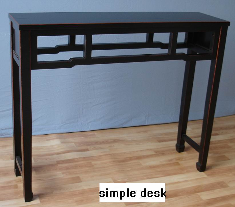 Antique matt black with chestnut color frame without drawer desk