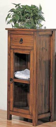 Fir wood bathroom mid cabinet with one door one drawer one shelf