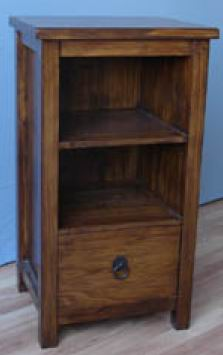 Fir wood bathroom small cabinet with one shelf and one drawer