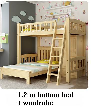Russia Pine Bedroom Series 829 with simple bunk bed carved