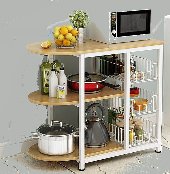 Kitchen table with 2 shelves, iron oven shelf, microwave oven shelf