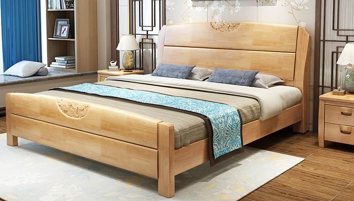 High-grade hotel furniture combination, full solid wooden bed 1.8 meters 1.5 m oak bed double simple Chinese style  furniture high box storage bed