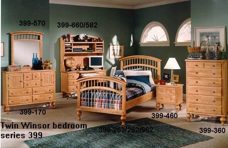 Solid pine Twin Winsor bedroom 399 series combination