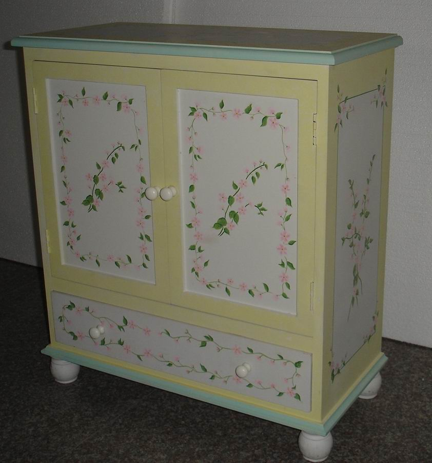 Small storage cabinet hand-painted