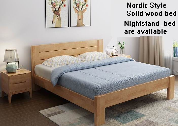 Nordic style Solid oak wood high-end bed