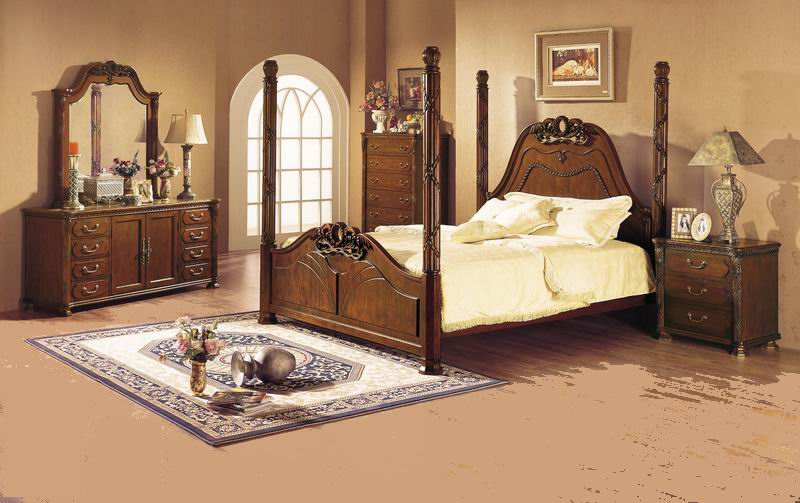 American village style poster bed antique & carved bedroom 308 chestnut series