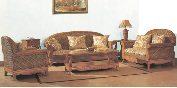 Exposed solid wood frame carved sofa living room five-piece collections