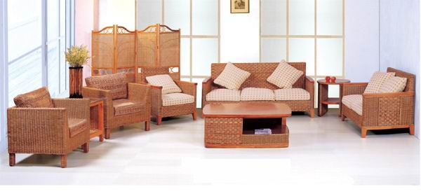 Exposed solid wood frame sofa living room eight-piece combinations