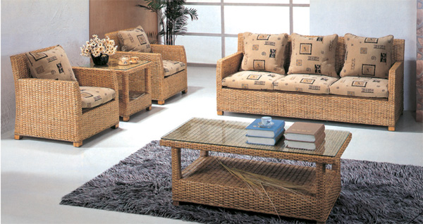 Natural Rattan sofa living room 5-piece combinations  with rattan coffee table and end table