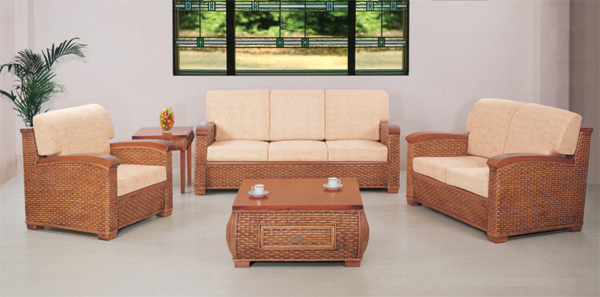Exposed bamboo frame Rattan sofa living room 5-piece combinations  with rattan coffee table and end table