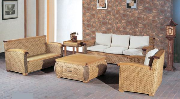 Exposed bamboo frame Rattan sofa living room 5-piece combinations  natural finish