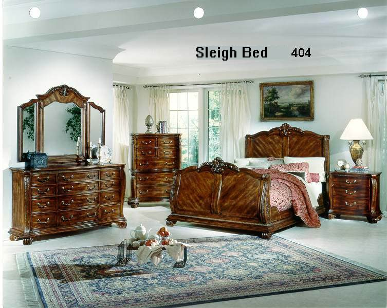 Antique American Sleigh bed bedroom 404 series carved