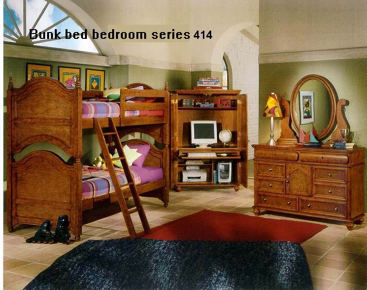 American Village Antique style Chestnut finish Bunk bed bedroom 414 Series