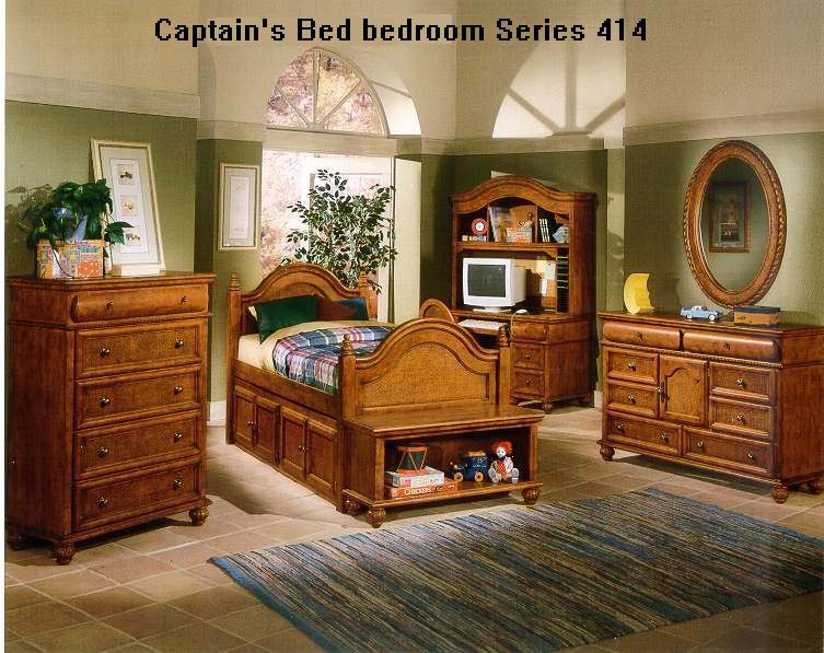 American Village Antique style Chestnut finish Captain's bed bedroom 414 Series