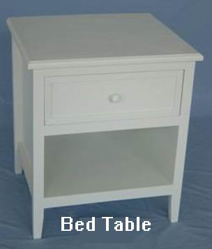 Fully white finish covered Bed Table with one drawer and one bottom storage