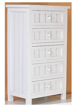 Fully whited covering finish bathroom cabinet with 5 drawers