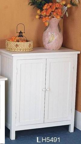 Fully whited covering finish bathroom cabinet with two doors
