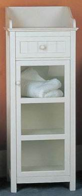 Antique white finishing bathroom chest with one drawer and one door
