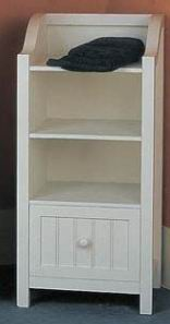 Antique white finishing bathroom chest with one drawer and 3 shelves