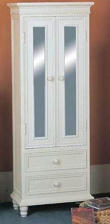 Antique white finishing  cabinet  2drawers with 2 glass doors