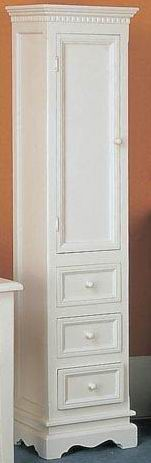Antique white finishing  cabinet 3 drawers with one wood door