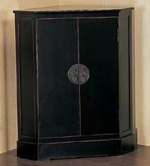 Antique black  finish corner cabinet storage with two doors