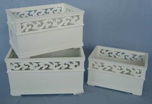 Antique white finishing  carved storage 3S