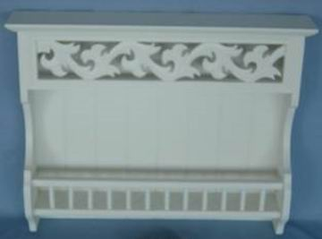 Antique white finish carved wall shelf