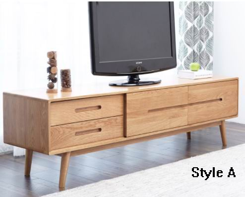 TV Cabinet with Solid red oak/dark walnut of Nordic amorous feelings