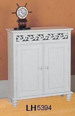 Antique white finishing  cabinet 2 doors with carved Top upper Apron