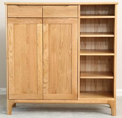 American solid red oak with nordic style shoe cabinet