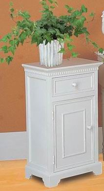 Antique white finish bathroom cabinet carved base with one drawer & one door