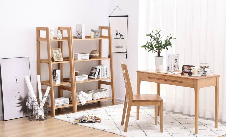 Simple modern full-solid wood bookshelf, study furniture oak combined shelf