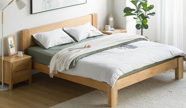 Modern simple bedroom furniture, full solid oak wood Nordic style bed with stronger legs