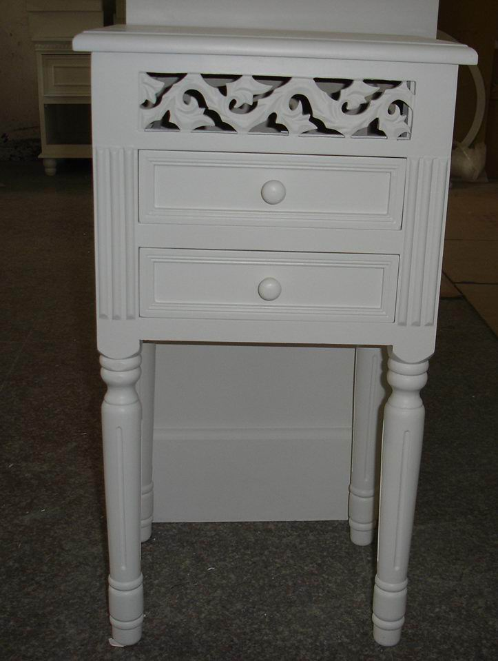 Antique white finish carved Bed Table with 2 drawers