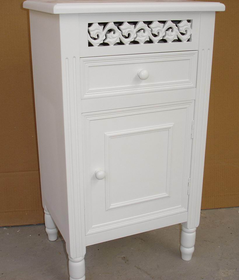 Antique white finish carved Bed Table with one drawers and one door