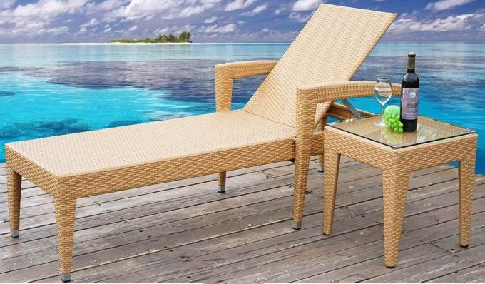multifunctional Outdoor furniture rattan  beach lounge chair