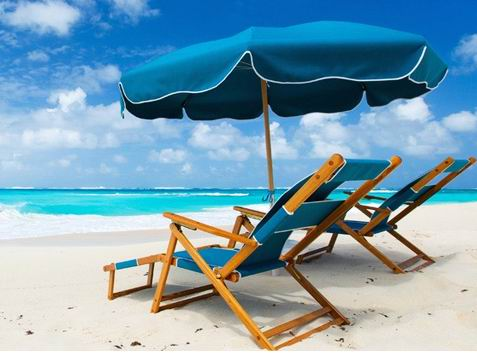 Sky blue full solid wood beach chair and umbrella combination, the harmony of sea and sky series