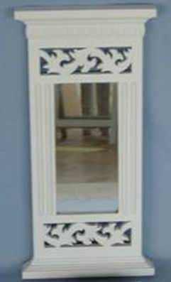 Antique white finish Bathroom Mirror top and bottom frame carved