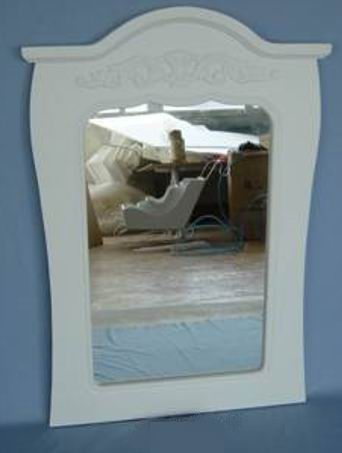 Carved crown wall mirror in antique white finish
